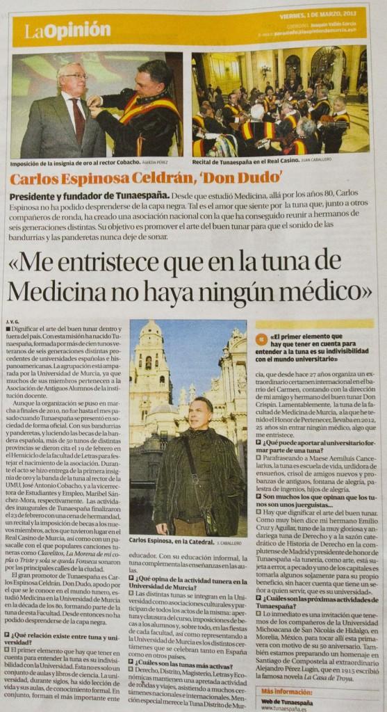 Carlos Ignacio Espinosa Celdran, Tuna Medicina de Murcia, TunaEngaña, Certamen Internacional de Tunas Costa Calida,  Don Billy Murcia, Don Quintos Murcia, 3