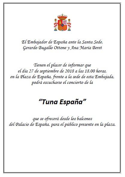 TunaEspaña-Embajada-de-España-ante-la-Santa-Sede-Don-Dudo-Juntamento-Vaticano Roma, Tuna, España.