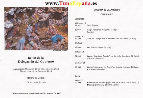 TunaEspaña, Delegacion Gobierno, Murcia, Inauguracion Belen, musica tuna, Programa