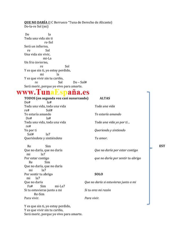 Tuna España, Tuna Derecho Alicante, Cancionero Tuna, QUE NO DARÍA,_Page_1