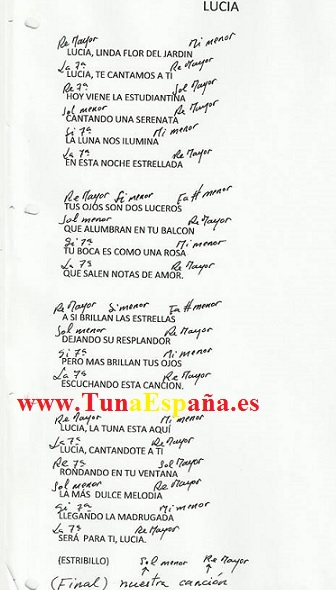 TunaEspaña, Certamen Tuna, Tuna Industriales upm, Cancionero tuna, Canciones de tuna, 02