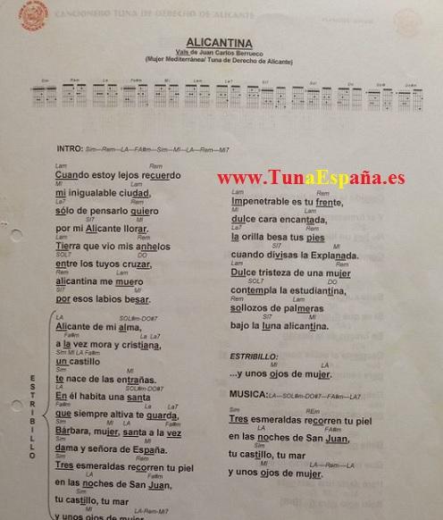 TunaEspaña, Tuna España, Cancionero Tuna, Alicantina, Canciones de Tuna