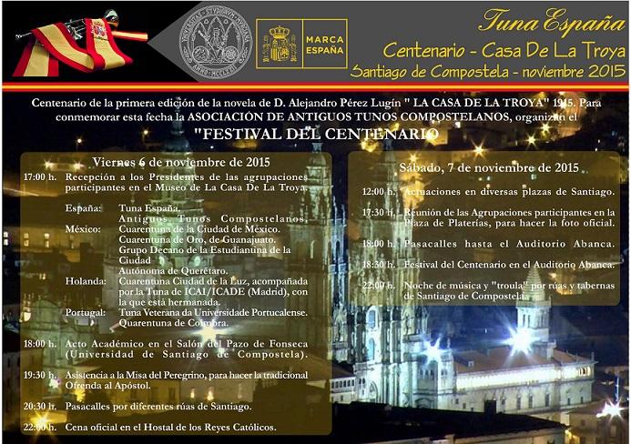 TunaEspaña, Casa de La Troya,CARTEL SANTIAGO 2015, cancionero de tuna,musica de Tuna, dism,2