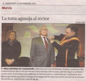 TunaEspaña, Don Dudo, Rector Universidad de Murcia, Insignia de oro TunaEspaña, Jose Antonio Cobacho Gomez,04