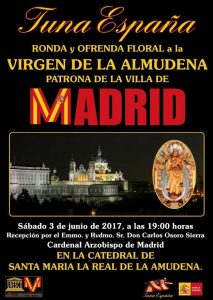 TunaEspaña, Tuna España, DonDudo, Don Dudo, Carlos Espinosa Celdran, Virgen Almudena, Cardenal Arzobisp de Madrid Carlos Osoro,15 borrado
