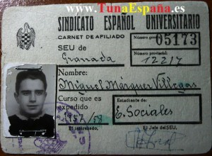 020TunaEspaña, DonMique-carnet-de-estudiante-Tuna-España